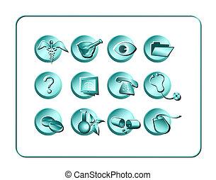 medicinsk, og, apotek, ikon, sæt, -, lys, 1medical, og, apotek, ikon, sæt, -, lys, 1