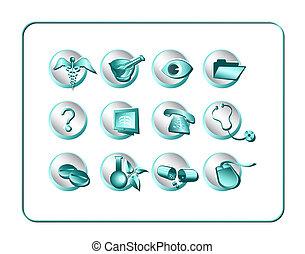 medicinsk, og, apotek, ikon, sæt, -, teal-silver