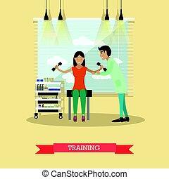 medicinsk omsorg, og, rehabilitering, begreb, vektor, illustration, ind, lejlighed, firmanavnet