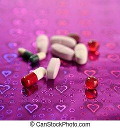 medicinsk, pillerne, hen, holographic, purpur