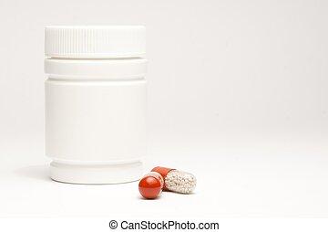 medicinsk, pillerne, ind, laboratorium, nær, hvid, beholder