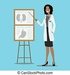medicinsk, presentation, stå, tecknad film, läkare
