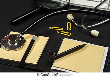 medicinsk, rapport, hos, pillerne, og, en, stethoscope.