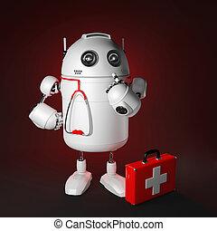 medicinsk, robot., computer reparer, begreb