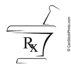 medicinsk, rx, enkel, symbol