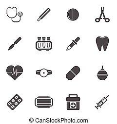 medicinsk, sätta, ikonen
