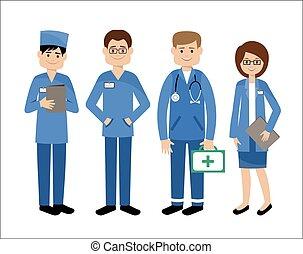 medicinsk, sätta, team., doctors.
