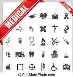 medicinsk, sæt, ikon