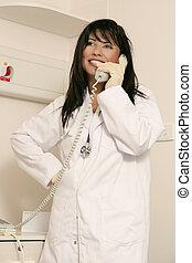 medicinsk, staffer, telefon