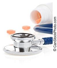 medicinsk, stetoskop, hos, pillerne