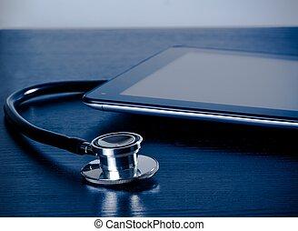medicinsk, stetoskop, nær, moderne, digital tablet, pc., ind, laboratorium, på, træ, tabel
