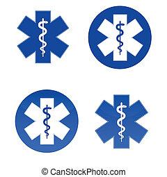 medicinsk, stjerne, symboler