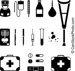 medicinsk, svart, ikon