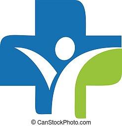 medicinsk, tecken, kors, mänsklig, logo, design.