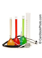 medicinsk, tema, hos, rør, stetoskop, og, injektionssprøjter