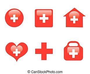 medicinsk, themed, kollektion, ikonen