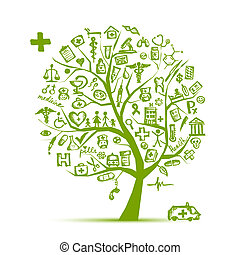 medicinsk, træ, begreb, by, din, konstruktion