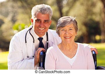medicinsk, utomhus, tålmodig, senior, läkare