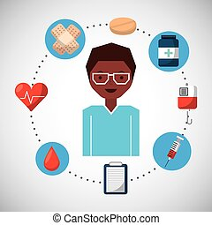 medicinskt begrepp, sätta, ikonen