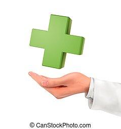 medico, 3d, simbolo, tenendo mano