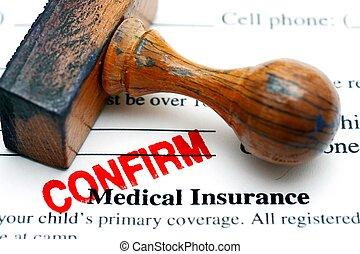 medico, assicurazione, confermare