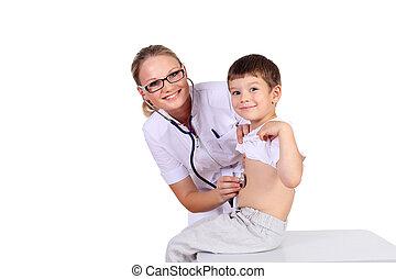 medico, bambino, esame, dottore