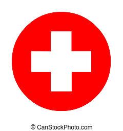 medico, bianco, croce, simbolo, in, uno, rosso, cerchio
