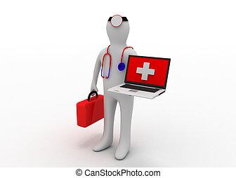 medico, con, computer
