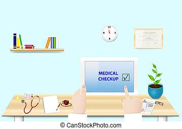 medico, controllo, fatto, concetto, vettore