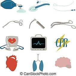 medico, defibrillator, ecg, oggetti, resuscitation.,...