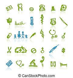 medico, disegno, tuo, icone