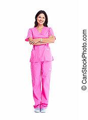 medico, donna, sorridente, stetoscopio, dottore