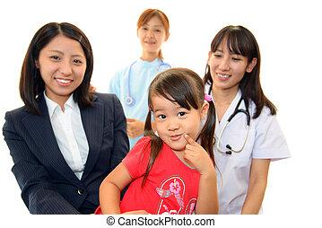 medico, dottore, sorridente, Asiatico
