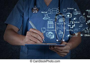 medico, dottore, stetoscopio, scrittura