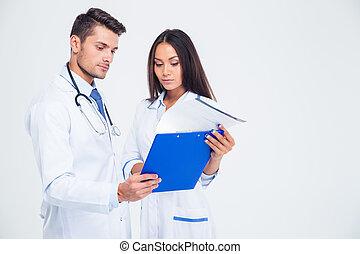 medico, due, dall'aspetto, appunti, ritratto, lavorante