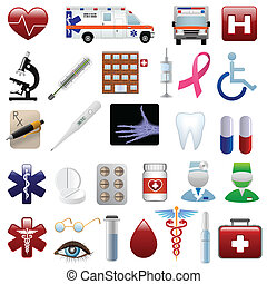 medico, e, ospedale, icone, set