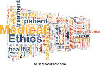 medico, etica, fondo, wordcloud, concetto, illustrazione