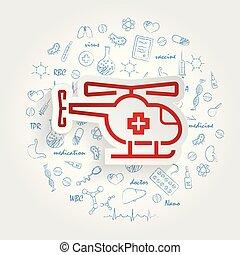 medico, fondo., vettore, bottone, sanità, handdrawn, doodles, elicottero