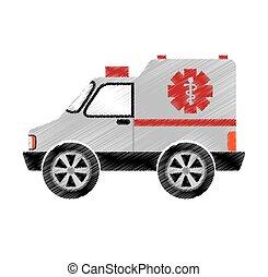 medico, icona, ambulanza, veicolo