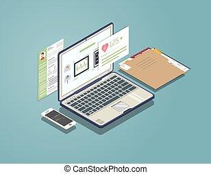 medico, laptop, concetto