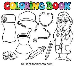 medico, libro colorante, collezione
