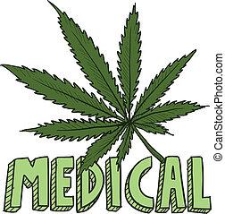 medico, marijuana, schizzo