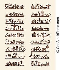 medico, mensole, disegno, tuo, icone