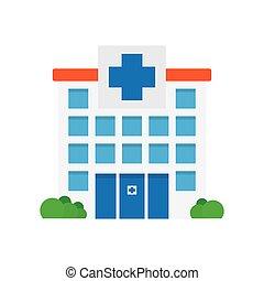 medico, ospedale, icon., costruzione