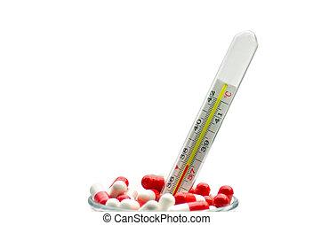 medico, pillole, termometro