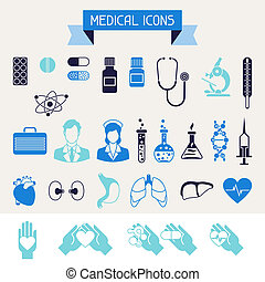 medico salute, cura, icone, set.