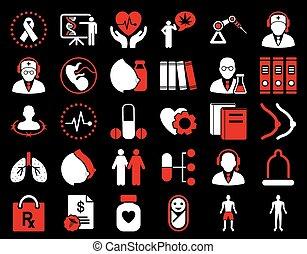medico, set, icona