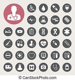 medico, set, icone