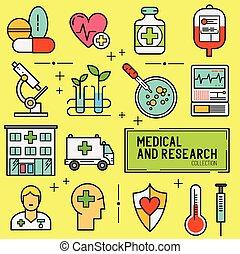 medico,  set, ricerca, icona