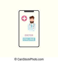 medico, sostegno, linea, concept., dottore
